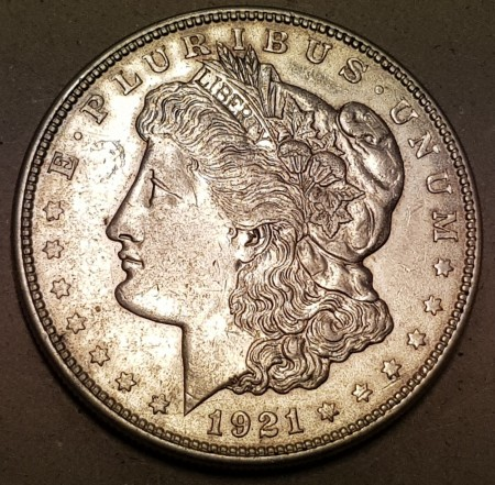 Morgan dollar 1921 D kv. 1/1+