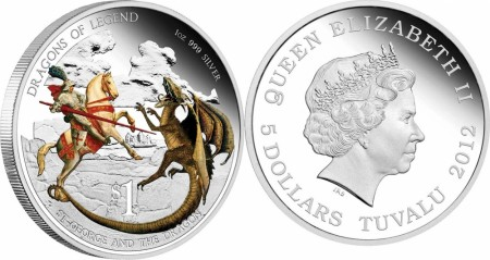 Tuvalu: 1 dollar 2012 - St. Georg and the dragon
