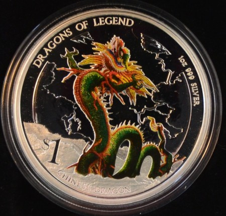 Tuvalu: 1 dollar 2012 - Chinese dragon