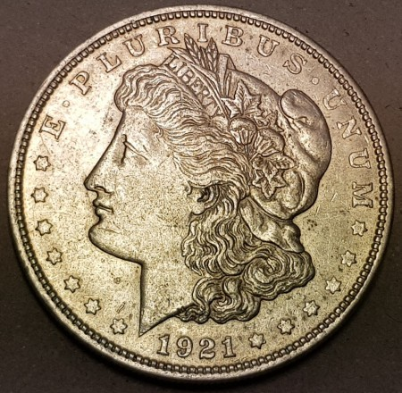 Morgan dollar 1921 D kv. 1